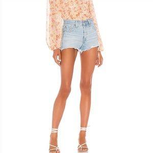 Levi's 501 Button Fly Denim Cut Off Jean Shorts
